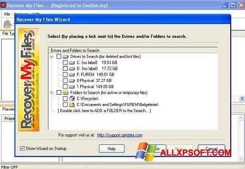 Ekrano kopija Recover My Files Windows XP
