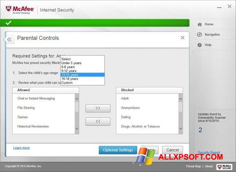 Ekrano kopija McAfee Windows XP