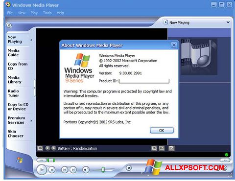 Ekrano kopija Windows Media Player Windows XP