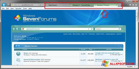 Ekrano kopija Internet Explorer Windows XP