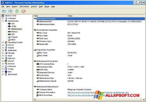 Ekrano kopija AIDA32 Windows XP