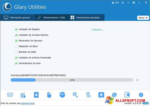 Ekrano kopija Glary Utilities Windows XP