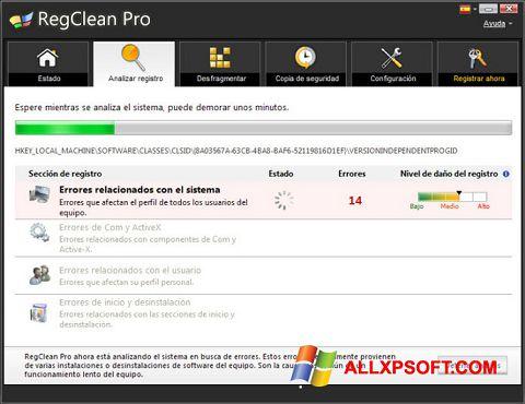 Ekrano kopija RegClean Pro Windows XP