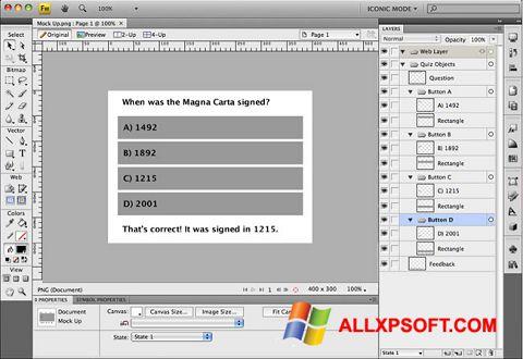 Ekrano kopija Adobe Fireworks Windows XP