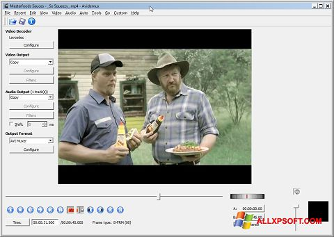 Ekrano kopija Avidemux Windows XP
