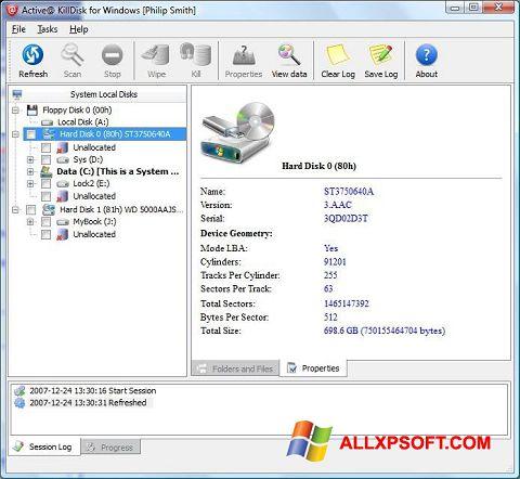 Ekrano kopija Active KillDisk Windows XP