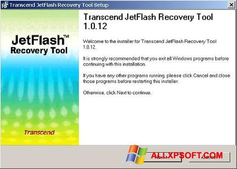 Ekrano kopija JetFlash Recovery Tool Windows XP