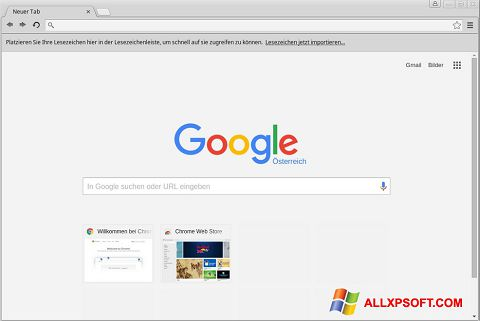Ekrano kopija Google Chrome Windows XP
