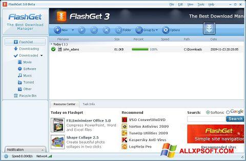 Ekrano kopija FlashGet Windows XP