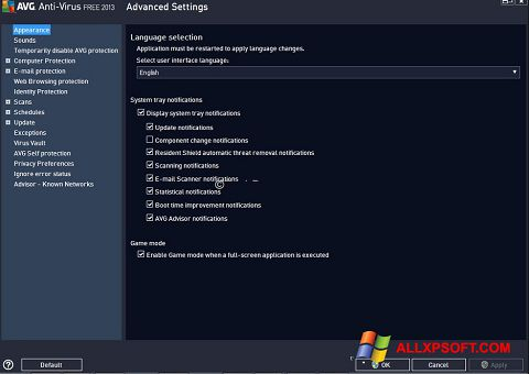 Ekrano kopija AVG Windows XP