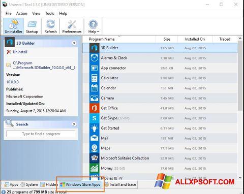 Ekrano kopija Uninstall Tool Windows XP