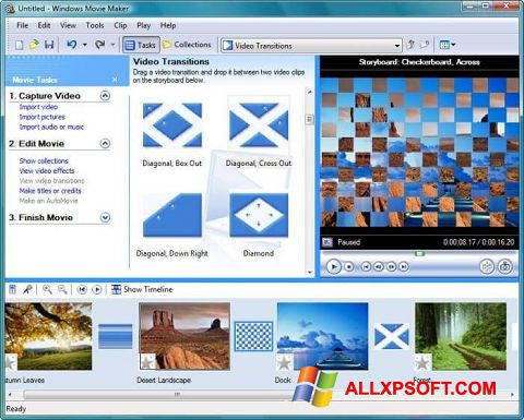 Ekrano kopija Windows Movie Maker Windows XP