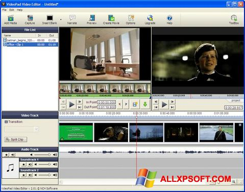 Ekrano kopija VideoPad Video Editor Windows XP