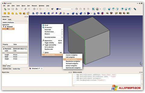 Ekrano kopija FreeCAD Windows XP