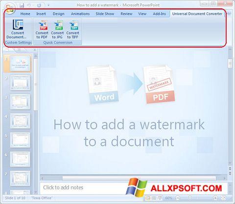 Ekrano kopija Microsoft PowerPoint Windows XP