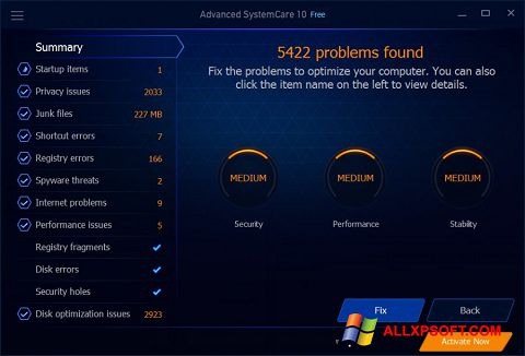 Ekrano kopija Advanced SystemCare Free Windows XP