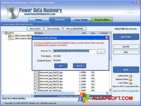Ekrano kopija Wondershare Data Recovery Windows XP