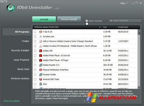 Ekrano kopija IObit Uninstaller Windows XP