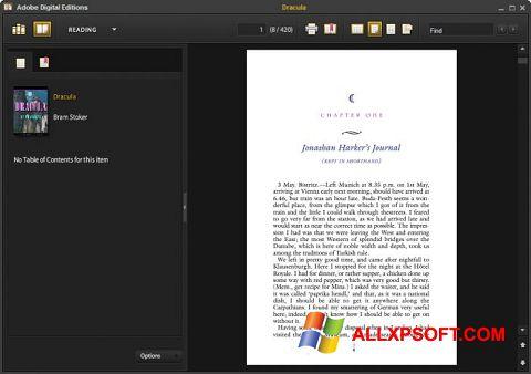 Ekrano kopija Adobe Digital Editions Windows XP