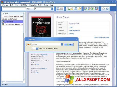 Ekrano kopija All My Books Windows XP