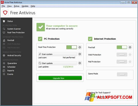 Ekrano kopija Avira Free Antivirus Windows XP