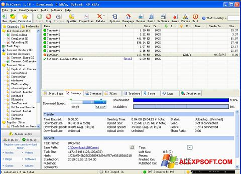 Ekrano kopija BitComet Windows XP