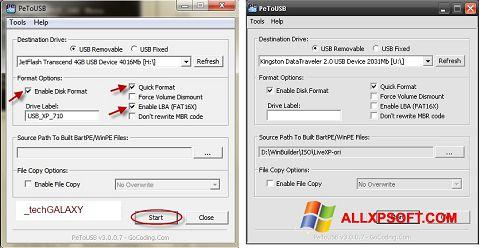 Ekrano kopija PeToUSB Windows XP