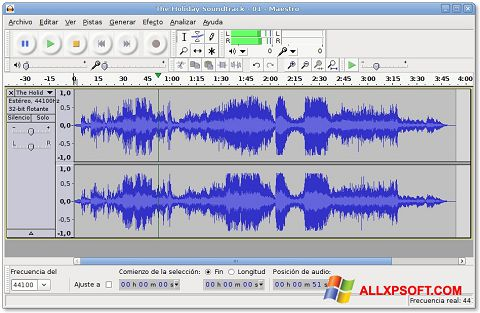 Ekrano kopija Audacity Windows XP