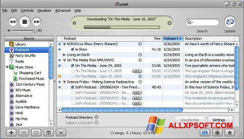 Ekrano kopija iTunes Windows XP