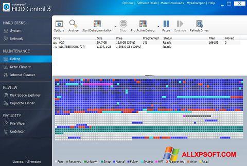 Ekrano kopija Ashampoo HDD Control Windows XP