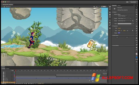 Ekrano kopija Adobe Flash Professional Windows XP