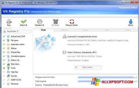 Ekrano kopija Vit Registry Fix Windows XP