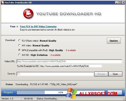 Ekrano kopija Youtube Downloader HD Windows XP