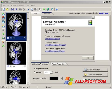 Ekrano kopija Easy GIF Animator Windows XP