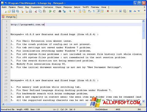 Ekrano kopija Notepad++ Windows XP