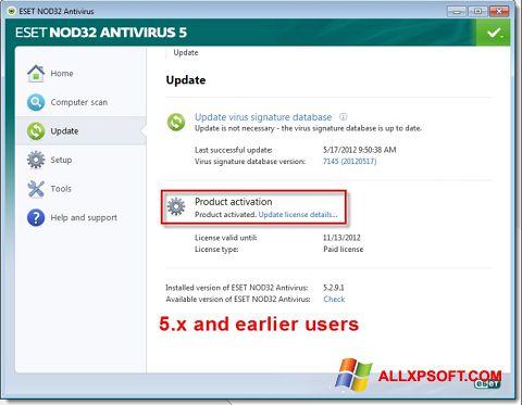 Ekrano kopija ESET NOD32 Windows XP