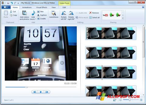 Ekrano kopija Windows Live Movie Maker Windows XP