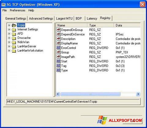 Ekrano kopija TCP Optimizer Windows XP